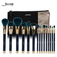 מותג ג 'סאפ 15 יחידות מברשות איפור יופי כלי מברשת סט כחול Darkgreen T113 & תיק נשים תיקי קוסמטיקה CB002