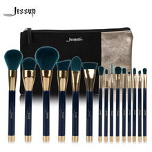 Jessup 브랜드 15pcs 뷰티 메이크업 브러쉬 세트 브러쉬 도구 블루와 darkgreen t113 & 화장품 가방 여성 가방 cb002