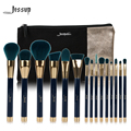 Jessup Brand 15pcs Beauty Makeup Brushes Set Brush Tool Blue and Darkgreen T113 & Cosmetics Bags Women Bag CB002