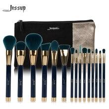 Jessup marka 15 adet güzellik makyaj fırça seti fırça aracı mavi ve koyu yeşil T113 ve kozmetik çantaları kadın çantası CB002