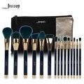 Marca 15 pcs pincéis de maquiagem conjunto de beleza escova jessup ferramenta t113 azul e verde escuro & sacos cosméticos mulheres saco cb002