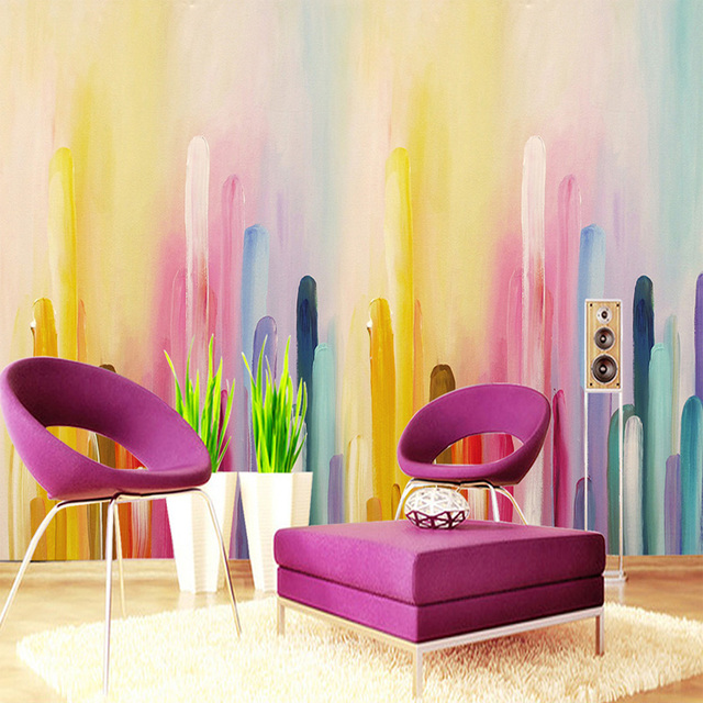 Hand painted Color Gradient Of The Wall Decorations Mural Living ...