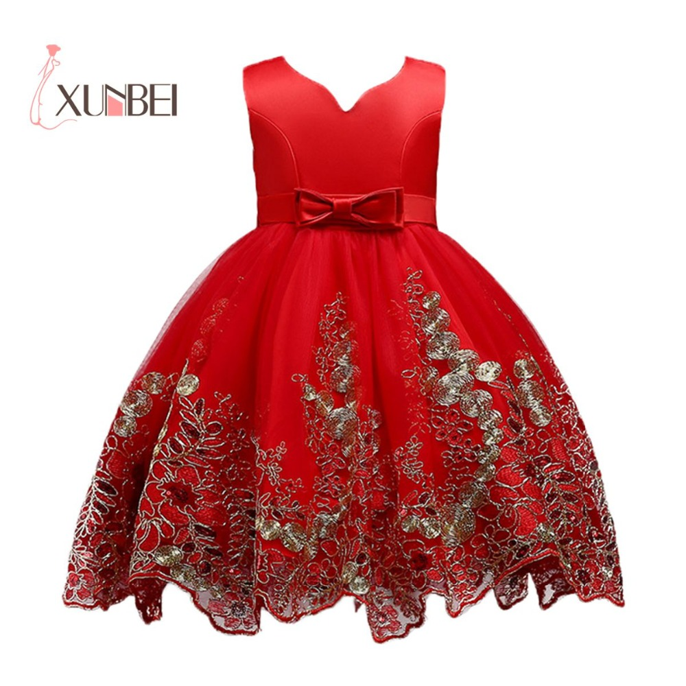 3-12Y Red Knee Length   Flower     Girl     Dresses   2019 Gold Applique   Girls   Pageant   Dresses   First Communion   Dresses   Kids Party   Dresses
