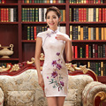 Women  Low Collar Slim Cheongsam Short Length Female Chinese Traditional Dress Sleeveless Qipao Girl Party Chinese Dress 18
