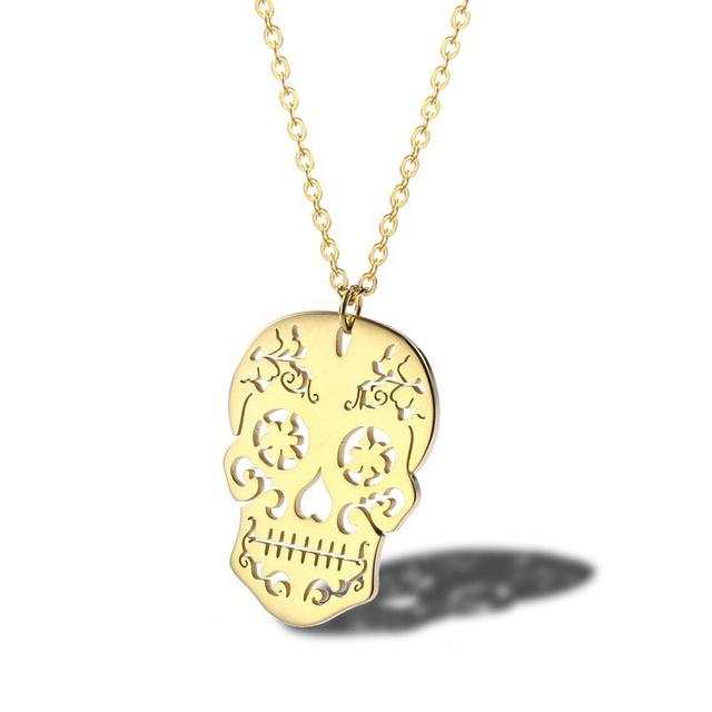 Gold Mexico Sugar Skull Necklace