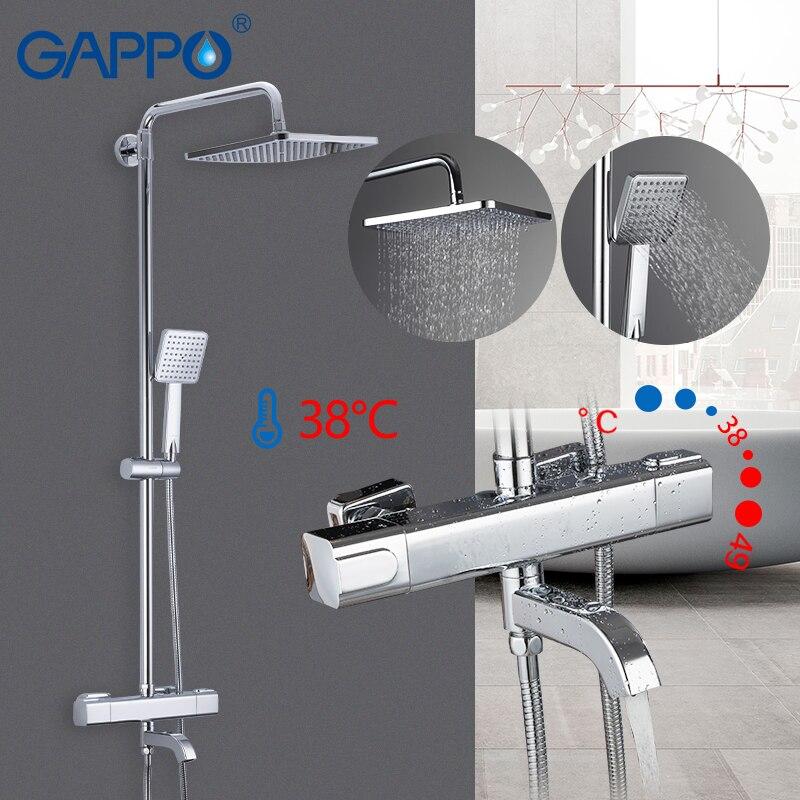 cheapest GAPPO shower system black bathroom shower set bath shower mixers waterfall thermostatic mixer tap rain bathtub faucets