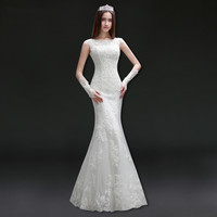 Holievery Scoop Neck Lace Appliques Mermaid Wedding Dresses 2019 Floor Length Bride Dress Lace Up Vestidos De Novia Trouwjurk