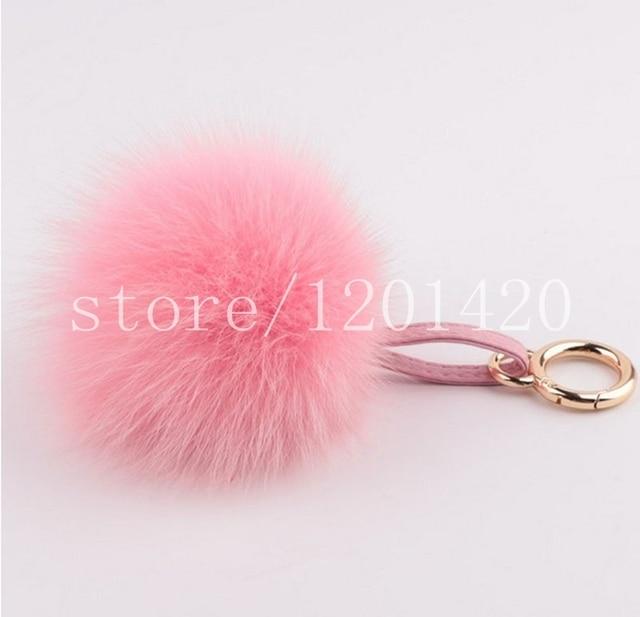 7 color Big 13 cm Real Fox Fur Pompom Key Chain Handbag Charm Bag Bug gold Key Ring Tote Charm double leather lanyard