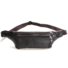 Brief Genuine Leather Vintage Waist Bag Men Chest Shoulder Purse Cell Phone Fanny Pack Messenger Crossbody