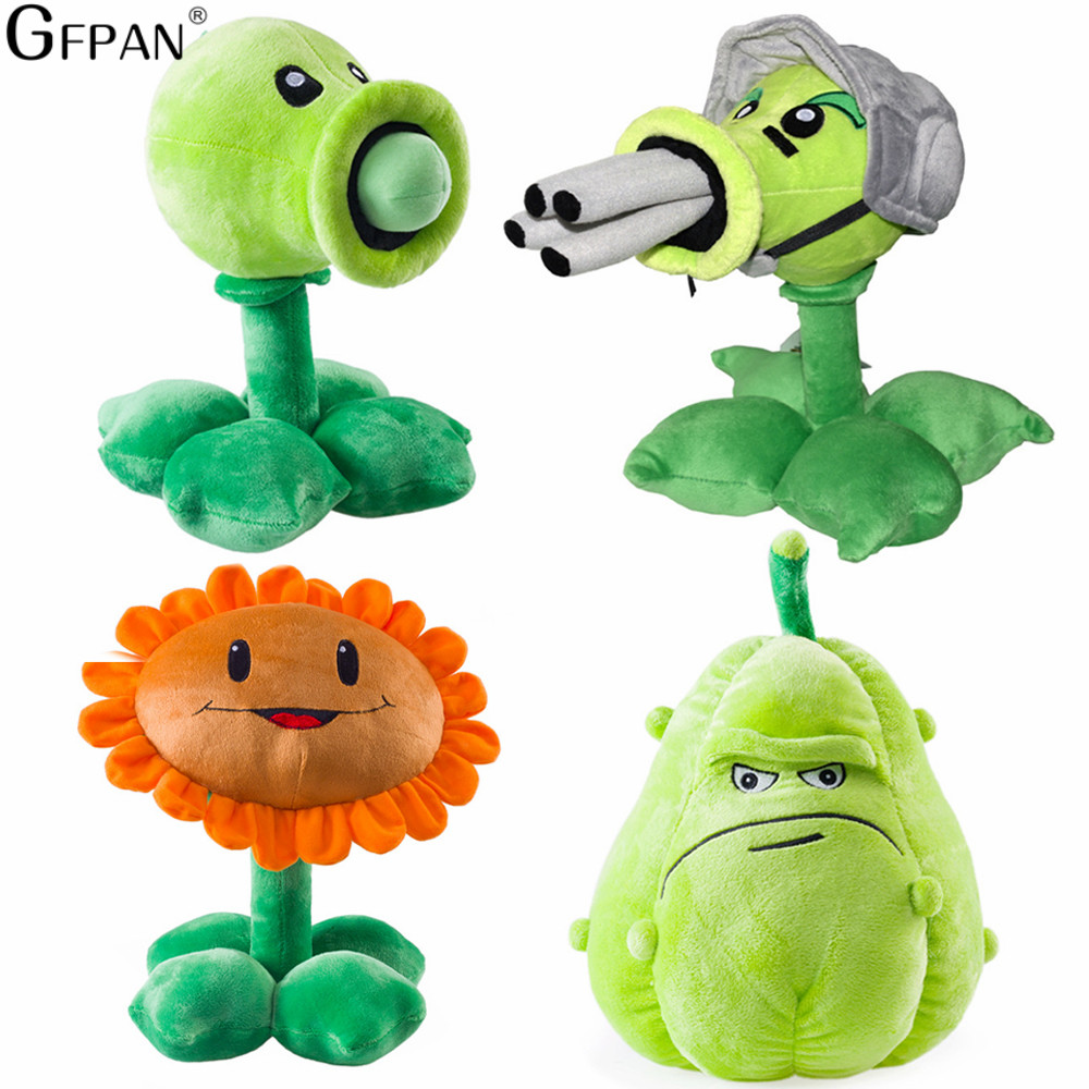 GFPAN High Quality 1PC 30cm Plants vs Zombies Pea Shooter& Sunflower &Squash Stuffed&Plush Toys Birthday Gift For Baby