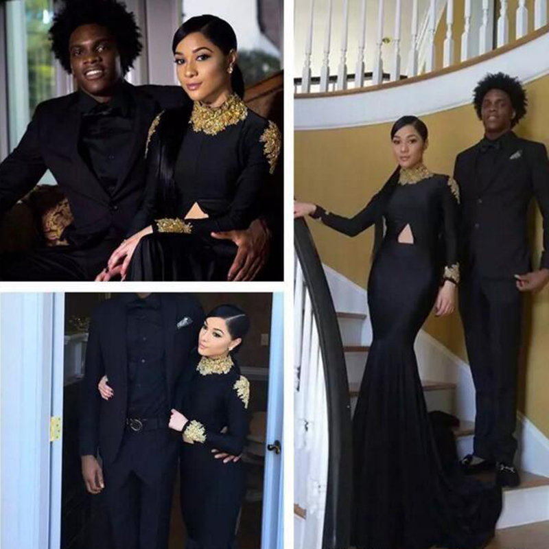 2019 Sexy Cheap Mermaid South African Black Girls   Prom     Dress   Appliqued Long Sleeves Formal Pageant Evening Party Gown Plus Size
