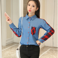 Denim Blouse Femme Ete 2017 Autumn Long Sleeve Shirt Women Casual Button Pockets Turn Down Collar