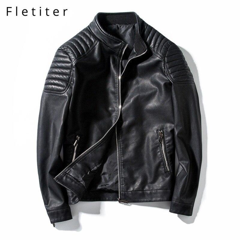 Fletiter automne moto vestes en cuir synthétique polyuréthane veste en simili cuir hommes noir vêtements mode élastique vêtement de motard