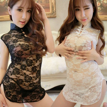 New Womens Sexy Lingerie Classical Transparent Lace Sexy Cheongsam Cosplay Chinese Style Dress Erotic Clothes For