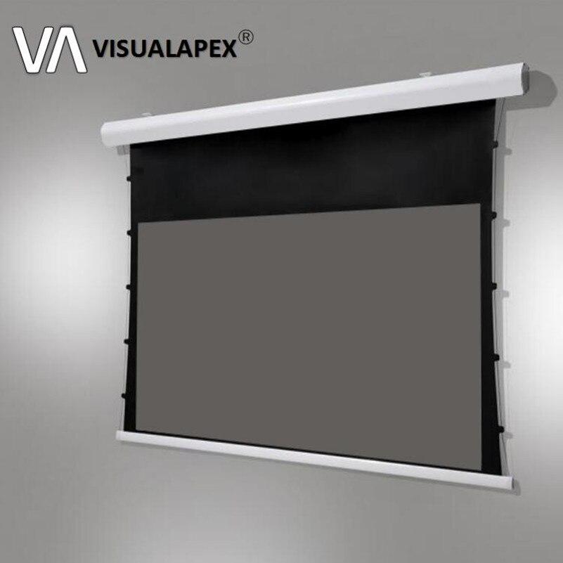T8ALRU écran de Projection à tension de languette motorisé électrique avancé avec matériau ALR pour projecteurs à ultra courte portée