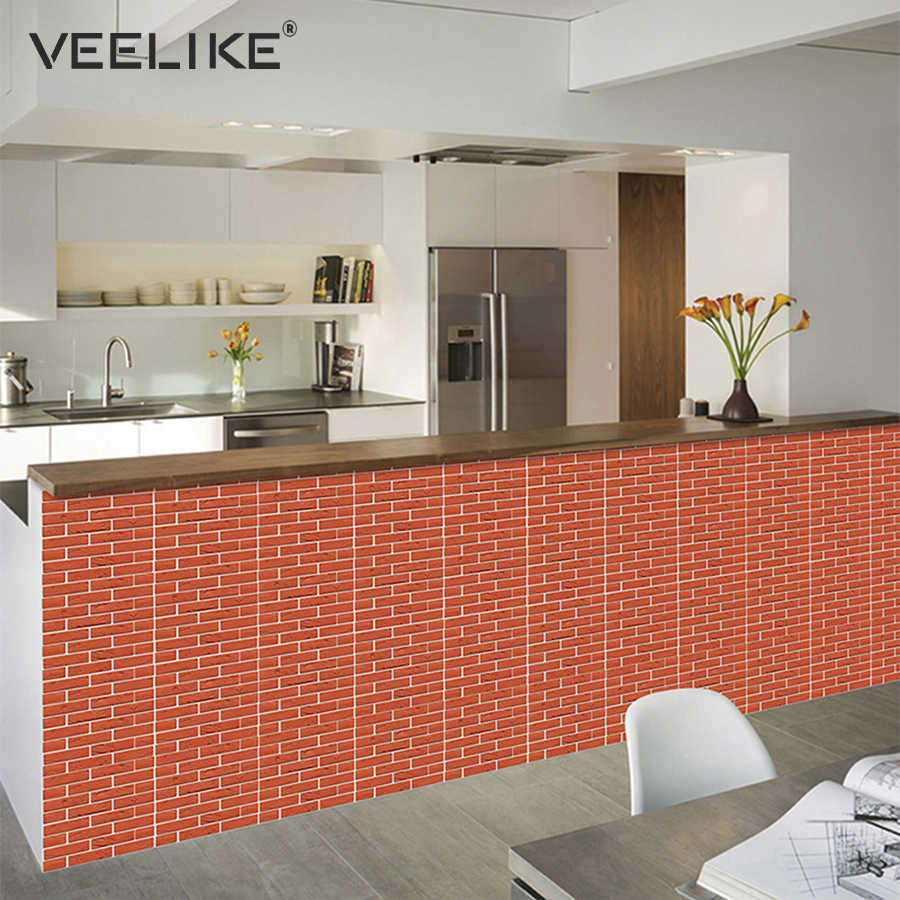 Groovy 3D Brick Wall Panels Pvc Self Adhesive Wallpaper For Kitchen Backsplash Peel And Stick Tile Wall Paper For Bathroom Living Room Download Free Architecture Designs Remcamadebymaigaardcom