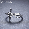 MDEAN 925 Sterling Silver Jewelry Engagement Rings for Women Cross Genuine 1.7Gram Black CZ Diamond Size 5 6 7 8 9 10