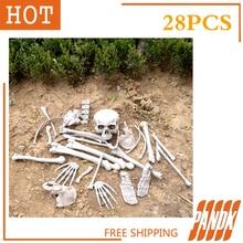 28Pcs of Bag Bones Halloween Skull Skeleton Decorations Holiday Props Haunted house Plastic Realistic Skull head