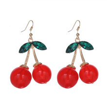 2016 New Fashion Gold Color Charm Green Crystal Leaves Double Big Red Cherry Earrings For Women Girl Party Jewelry Brincos
