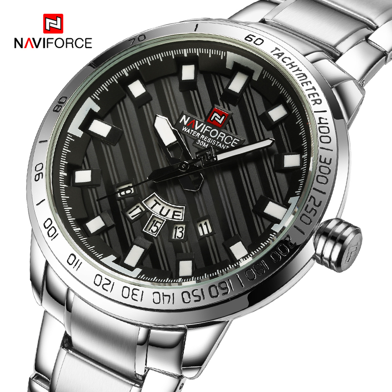 NAVIFORCE Luxury Brand Men Stainless Steel Gold Watch Men