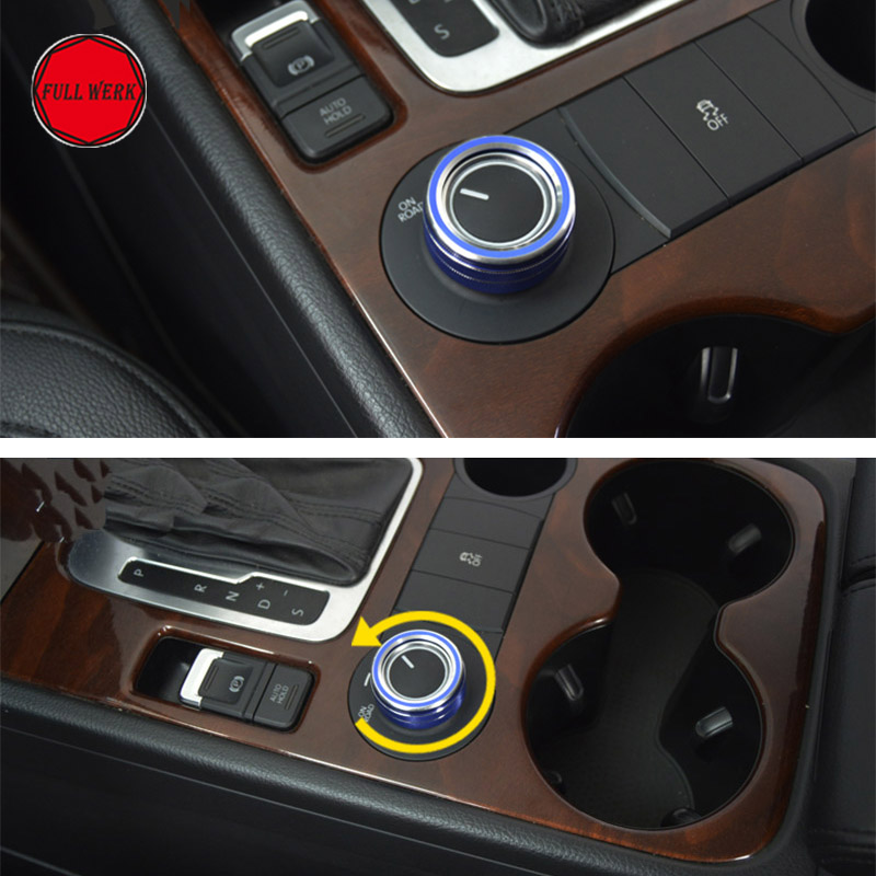 1pc Aluminum Alloy Car Central Control Knob Decoration Ring For VW Touareg 2011-2018 Switch Cover Frame Interior Accessories