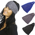 Women Crystal Headband Girls Jewel hair band Diamond Crochet Knitting Turban Winter Head Wrap Headwear