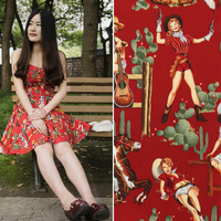 Retro Red Background twill poplin western girls handmade DIY fabric cloth fabric export to the United States