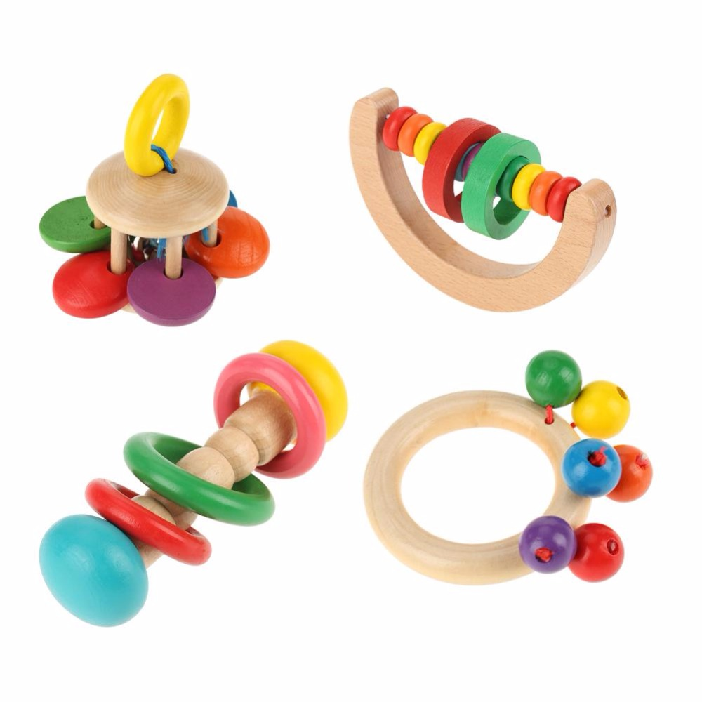 Baby Rattle Toys Wooden Rattles Grasp Play Game Teething Toys  Infant Early  Musical Educational Toys Gifts For Children Newborn