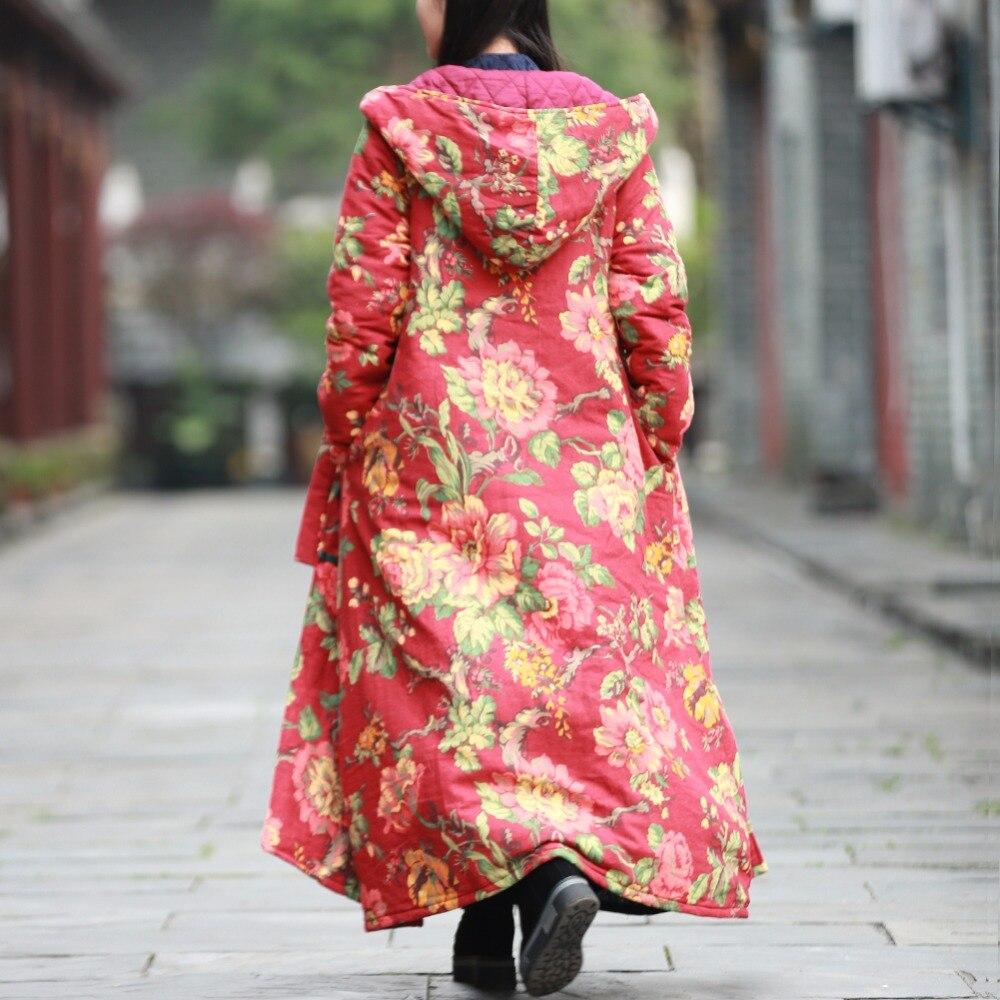 À Hiver Rembourré Floral Coupe Longue Flower Mince Vintage Trench Capuche Parka vent red Automne Veste Lzjn Red 01234 Manteau Femme Femmes 0q4FFp