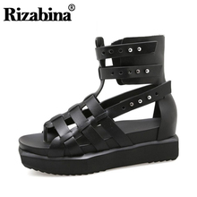 RIZABINA Women Gladiator Real Genuine Leather Wedges Sandals Rivet Summer Vacation Beach Shoes Chic Footwear Size 35-40