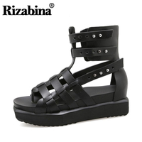 RIZABINA Women Gladiator Real Genuine Leather Wedges Sandals Rivet Summer Vacation Beach Shoes Women Chic Footwear Size 35 40