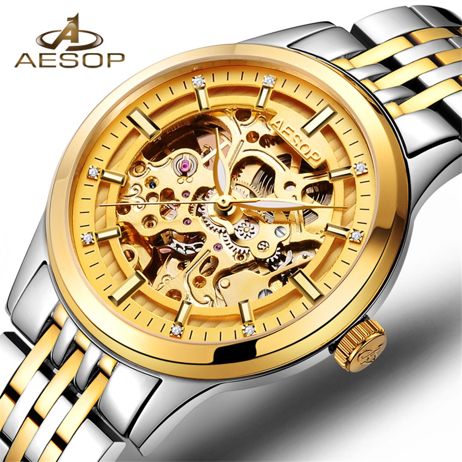 Automatic Mechanical Watch Men Hot Skeleton Watches Gold Bracelet Wristwatch Luxury Brand AESOP Men's Watch Auto Self-winding rosdn luxury men gold watches famous brand men s automatic mechanical watch mans gold skeleton mechanical wristwatch