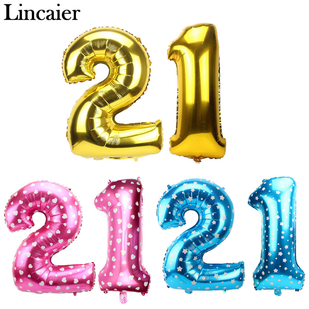 Lincaier 32inch 62cm Happy 21st Birthday Balloons 21 Years