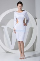 free shipping 2015 hot sale new design white sexy long sleeve backless custom knee length Cocktail Dresses party gown