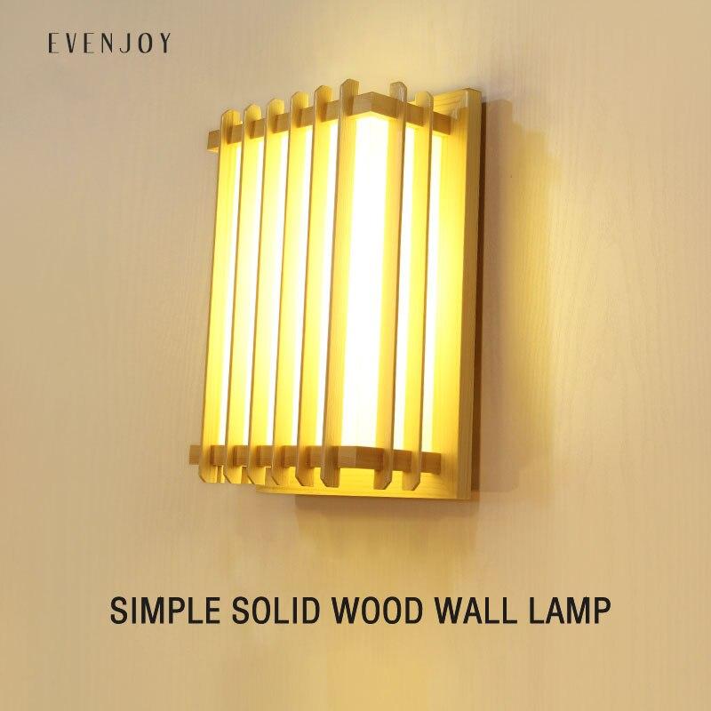 Modern Japanese Tatami Style Raw Wood LED Wall Light 18-36W Square Lamp for Aisle Corridor Bathroom Mirror Hallway Decoration