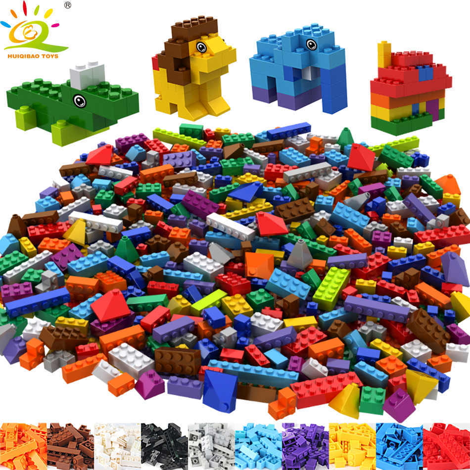 HUIQIBAO TOYS Classic DIY Colorful Bricks Building Blocks Educational Toys For Children Compatible Legoed City House Animals