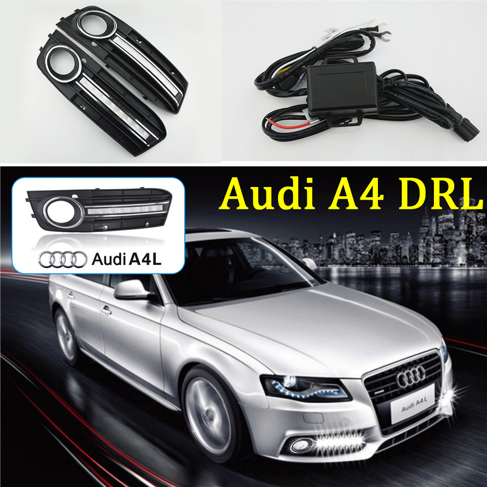 2 Pcs car-styling 8 LEDs DRL Daytime driving Running Lights Daylight Fog Lamp cover hole For Audi A4 2009-2012 free shipping car styling front lamp for t oyota for tuner 2012 2013 daytime running lights drl