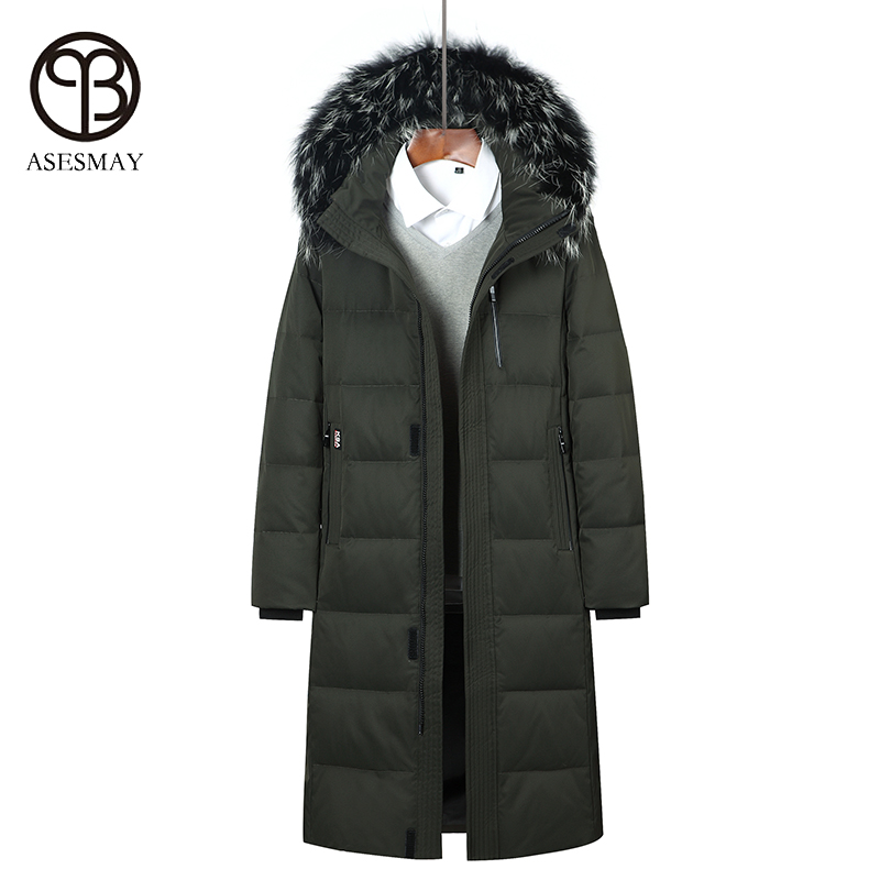 Asesmay 2017 men down jacket x-long thick and warm winter down coat mens casual parka degree -40 wellensteyn jackets size S-6XL