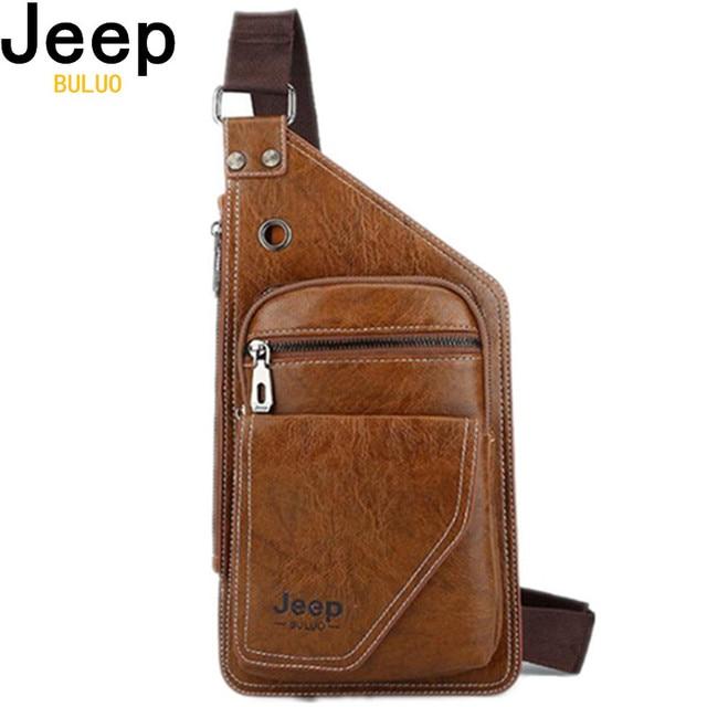 Sacos De Couro dos homens Da Marca Jeep Saco Peito Crossbody Para O Homem Jovem Festa Casual Messenger Ombro Sacos de Moda Saco de Viagem Dos Homens PI600