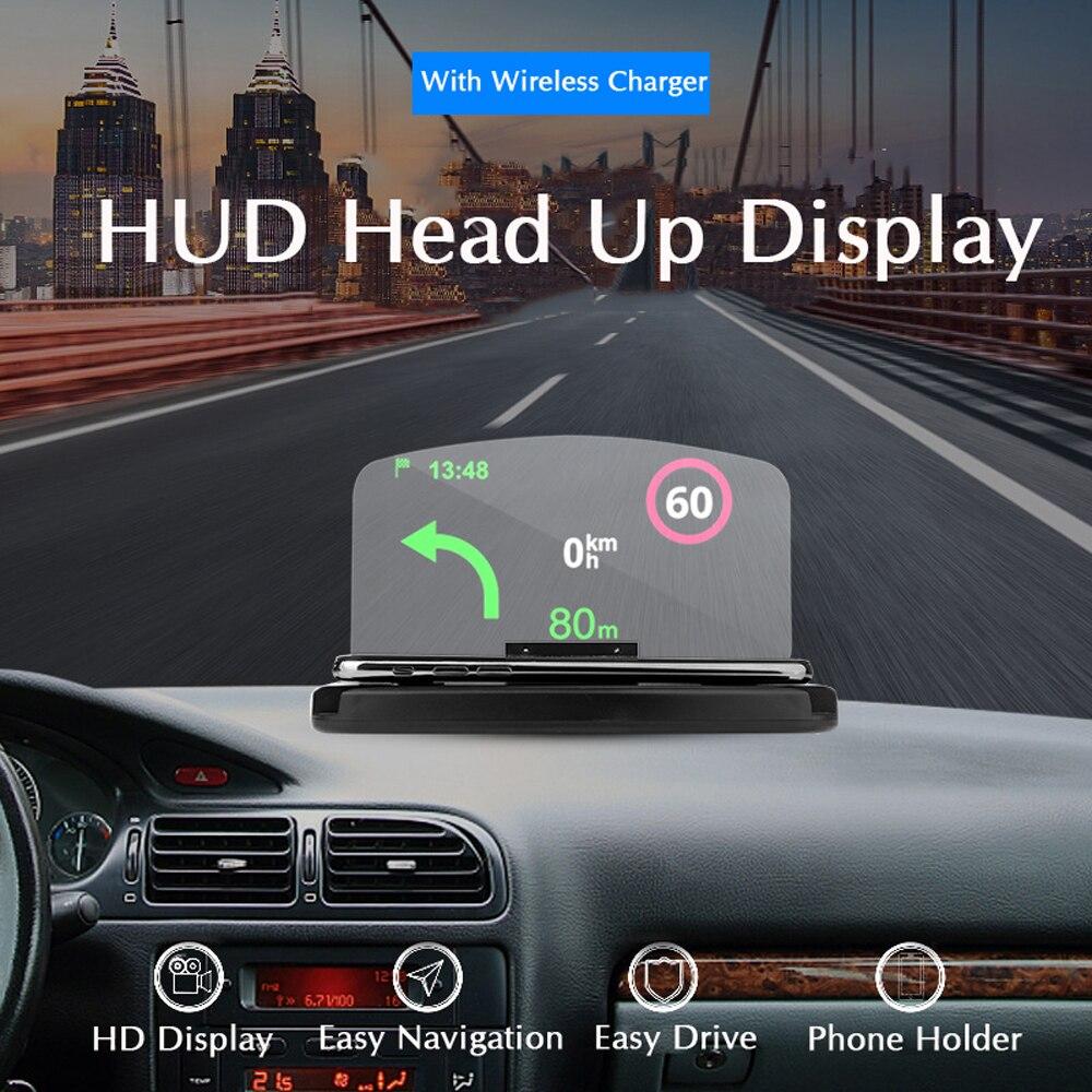 Qi Drahtlose Ladegerät Auto Windschutzscheibe HUD Head Up Display 10 watt Schnelle Lade Universal Telefon Auto Halter Für iPhone Samsung GPS DH42