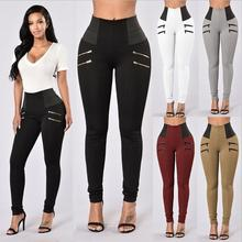 PlusขนาดS XXLสูงเอวกางเกงขายาวผู้หญิงสีดำกางเกงขายาวDeportivas Mujer Femmeเซ็กซี่กางเกงสบายๆดินสอLegins