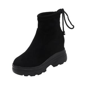 Image 2 - SWYIVY siyah ayakkabı kadın günlük ayakkabılar geri dantel 2019 sonbahar kadın ayak bileği yüksek Top Sneakers üzerinde platformu tıknaz Sneaker kadın