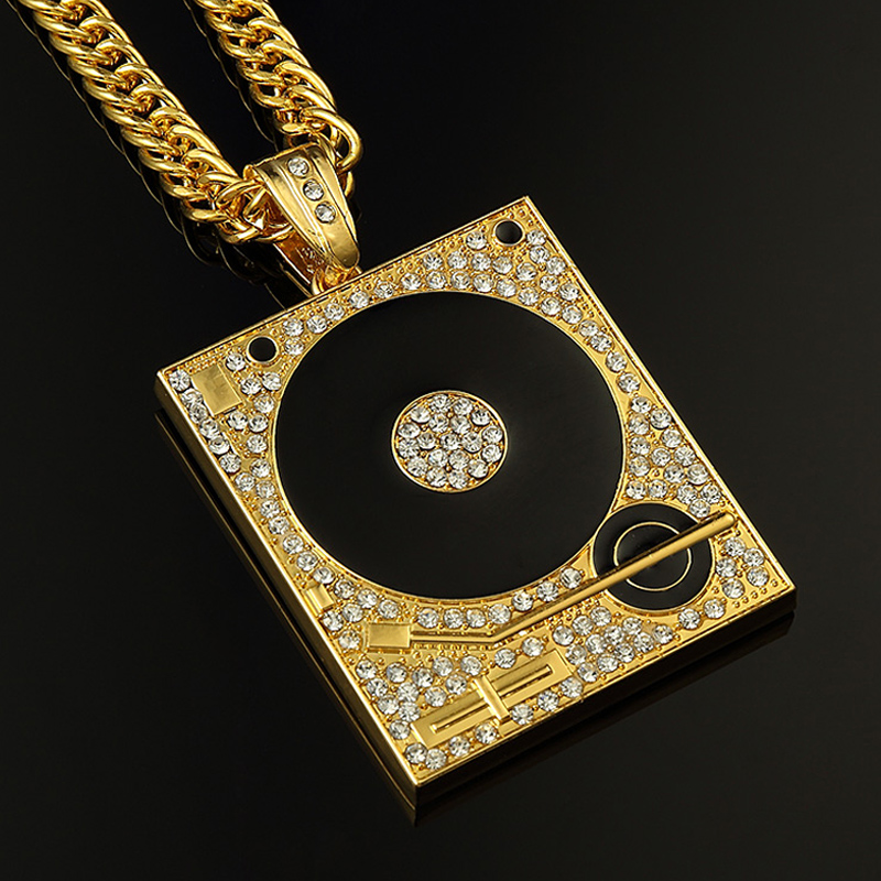 2pcs dj phonograph big pendant necklace for men jewelry hiphop chain 2pcs dj phonograph big pendant necklace for men jewelry hiphop chain gold silver color mens jewellery hip hop style necklaces in pendant necklaces from mozeypictures Gallery