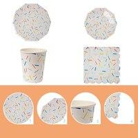 Kolorowe Jednorazowe Papieru Papieru Stołowe Zestawy Srebrne Felgi 7/9 inch Kubki Talerze Naczynia Tissue Ślub Birthday Party Decoration