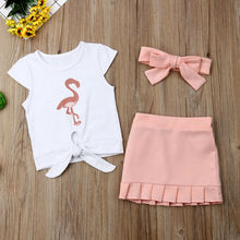 Kids Baby Girls Flamingo T-Shirt Dress Skirt 3PCS Outfit