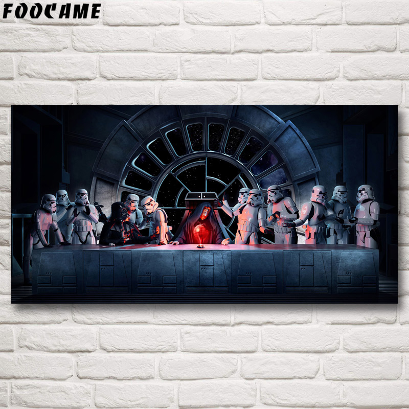 FOOCAME Star Wars Movie Poster Darth Vader Emperor The Last Supper Silk Painting Wall Art Prints Decoration Pictures Living Room image