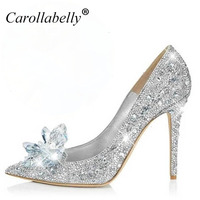 2017 New Rhinestone High Heels Cinderella Shoes Women Pumps Pointed Toe Woman Crystal Wedding Shoes 7cm
