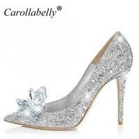 2017 New Rhinestone High Heels Cinderella Shoes Women Pumps Pointed Toe Woman Crystal Wedding Shoes 7cm