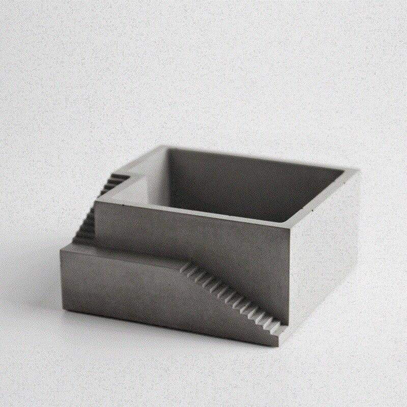 molde de silicona cuadrado de concreto con escaleras flor cemento bonsai musgo escritorio