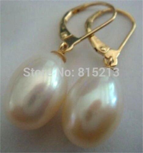 Wb00499 charme élégant naturel du sud mer 14-15mm blanc perle boucles d'oreilles